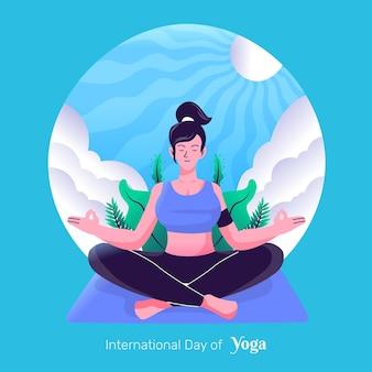 Międzynarodowy dzień jogi ręcznie rysowane stylu