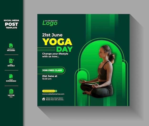 Międzynarodowy dzień jogi social media post banner na instagramie
