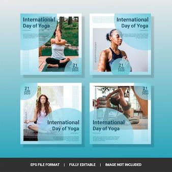 Międzynarodowy dzień jogi szablon mediów społecznościowych