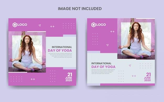 Międzynarodowy dzień jogi szablon postów na portalach społecznościowych