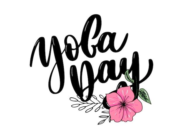 Międzynarodowy dzień jogi, tekst odręczny, kaligrafia, napis