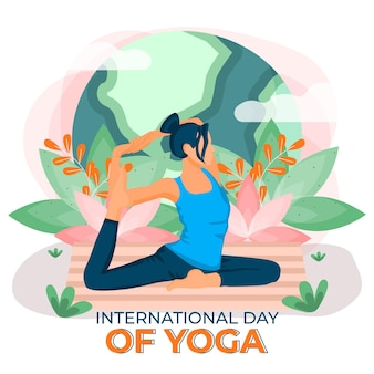 Międzynarodowy dzień jogi wewnętrznego spokoju płaska konstrukcja