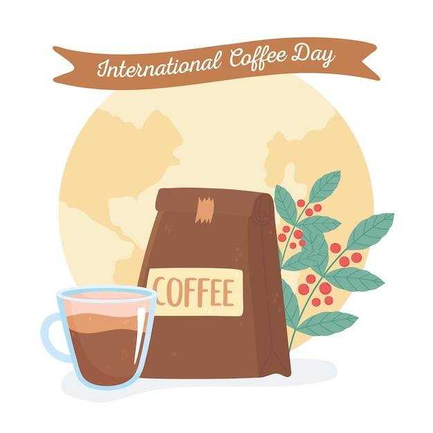 Międzynarodowy dzień kawy, filiżanki pakietu i gałęzi z tłem świata nasion