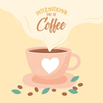 Międzynarodowy dzień kawy, filiżanki z nasionami serca i liśćmi