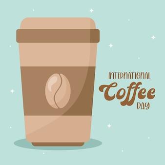 Międzynarodowy dzień kawy i kubek z motywem fasoli z napojem kofeinowym, śniadaniem i motywem napojów.