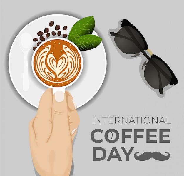 Międzynarodowy dzień kawy. ilustracja wektorowa filiżanki kawy.