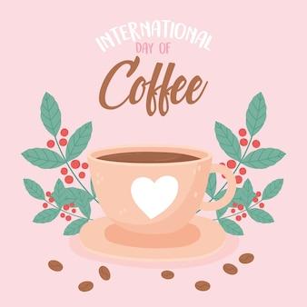 Międzynarodowy dzień kawy pyszny napój świeże nasiona liści