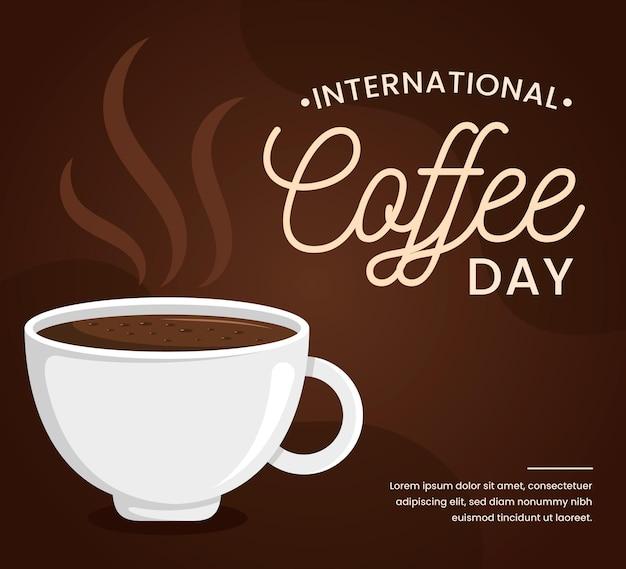 Międzynarodowy dzień kawy w płaskiej konstrukcji