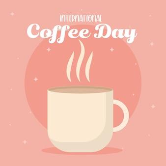 Międzynarodowy dzień kawy z projektem gorącego kubka z napojem kofeinowym, śniadaniem i motywem napoju.
