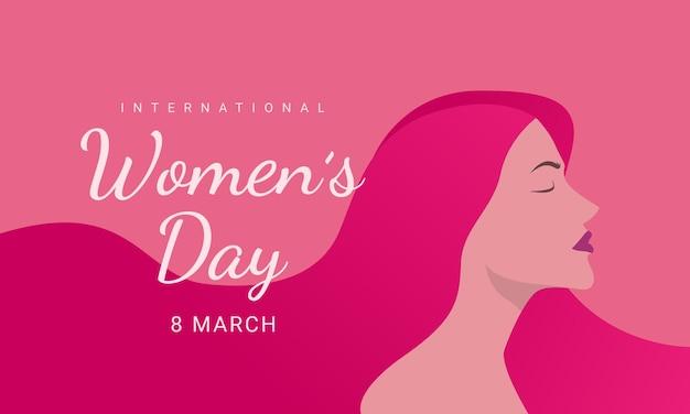 Międzynarodowy dzień kobiet, 8 marca, ilustracja głowy kobiety z boku szczęśliwy dzień kobiet.
