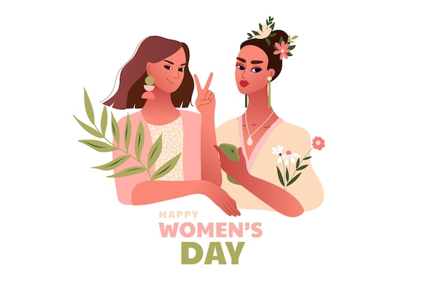 Międzynarodowy dzień kobiet. 8 marca. silne szczęśliwe kobiety robi gest zwycięstwa. szablon z pięknymi kobietami