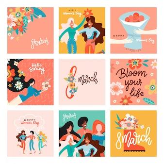 Międzynarodowy dzień kobiet. duży zestaw kart okolicznościowych z kobietami, kwiatami i napisem.
