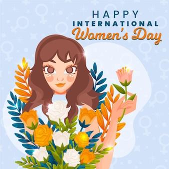 Międzynarodowy dzień kobiet ilustracja z kobietą i kwiatami
