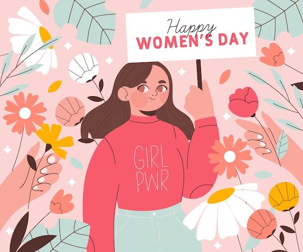 Międzynarodowy Dzień Kobiet Ilustracja Z Kobietą Trzymającą Tabliczkę Premium Wektorów