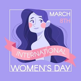 Międzynarodowy dzień kobiet ilustracja z kobietą