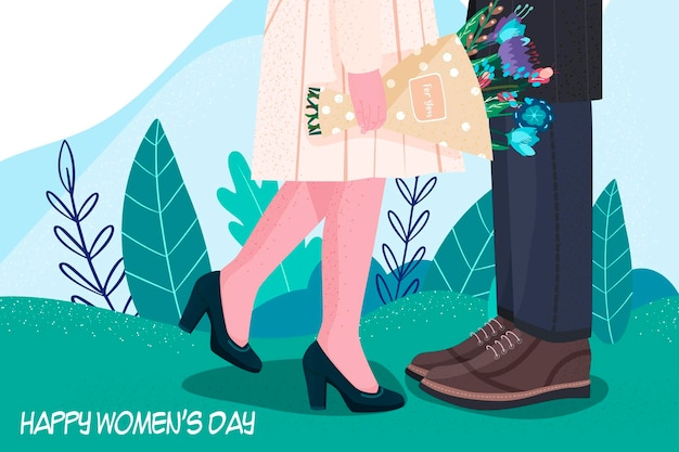 Międzynarodowy dzień kobiet. kwiaty. nowoczesny styl. rysunek odręczny.