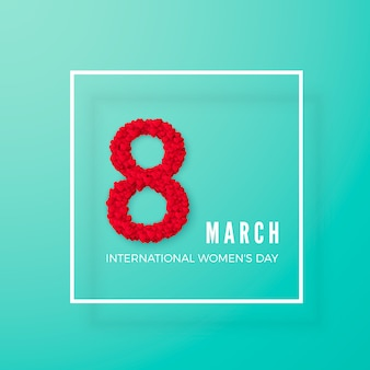 Międzynarodowy dzień kobiet. pocztówka z pozdrowieniami. osiem składa się z serc w ramce. koncepcja transparentu strony internetowej. ilustracja