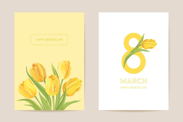 Międzynarodowy dzień kobiet powitanie. ilustracja wektorowa karta kwiatowy. realistyczne tło szablonu kwiatów tulipanów, koncepcja wiosny, plakat 8 marca, luksusowy projekt ulotki, zaproszenie na przyjęcie, baner reklamowy sprzedaży