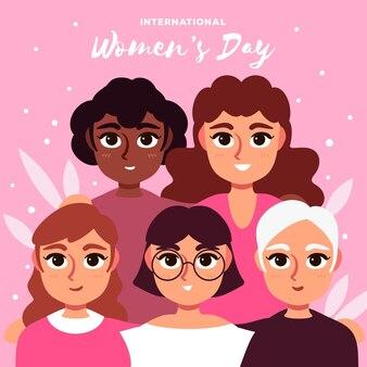 Międzynarodowy dzień kobiet ręcznie rysowane ilustracji