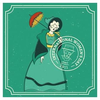 Międzynarodowy dzień kobiet retro roczniki od 1911 roku