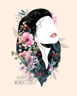 Międzynarodowy dzień kobiet. sylwetka kobiety z kwiatami.