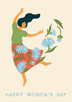 Międzynarodowy dzień kobiet. szablon wektor z tańczącą kobietą i kwiatami dla karty, plakatu, ulotki i innych użytkowników