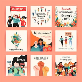 Międzynarodowy dzień kobiet. szablony kart z kobietami różnych narodowości i kultur.