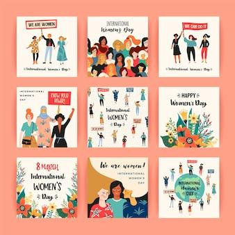 Międzynarodowy dzień kobiet. szablony kart z kobietami różnych narodowości i kultur