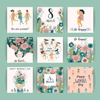 Międzynarodowy dzień kobiet. szablony kart z uroczymi kobietami z dekoracją kwiatową