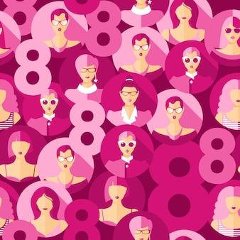 Międzynarodowy dzień kobiet. wzór z twarze kobiet.