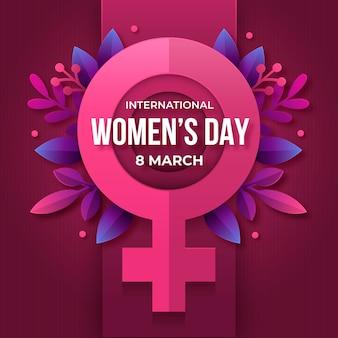 Międzynarodowy dzień kobiet z liśćmi i symbolem kobiety