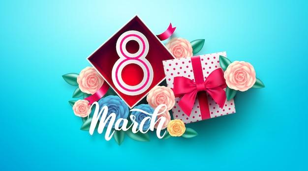 Międzynarodowy dzień kobiet z numerem 8 w pudełku. 8 marca szablon na dzień kobiet
