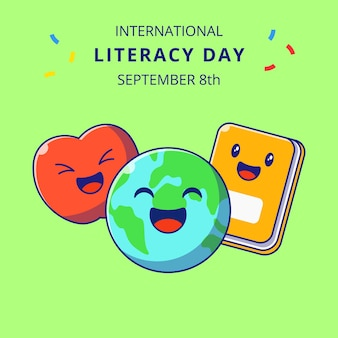Międzynarodowy dzień literactwa słodkie ziemia i książki kreskówki ilustracje. edukacja znaków maskotka.