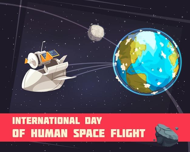 Międzynarodowy dzień ludzkiego lotu kosmicznego kolorowy plakat ze statkiem kosmicznym zaczynającym się od ilustracji ziemi