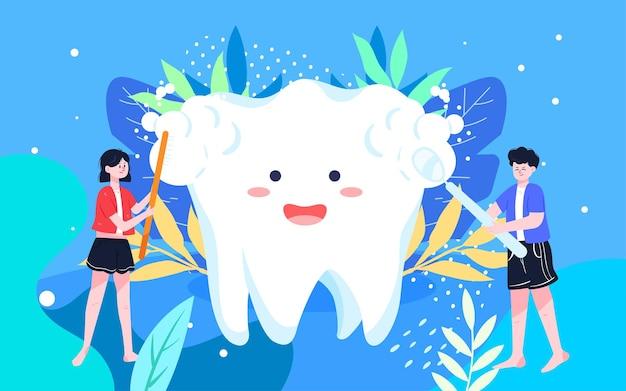Międzynarodowy dzień miłości szczotkowanie ilustracja ilustracja dentystyczne czyszczenie jamy ustnej plakat