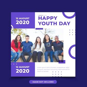 Międzynarodowy dzień młodzieży w mediach społecznościowych instagram post banner szablon