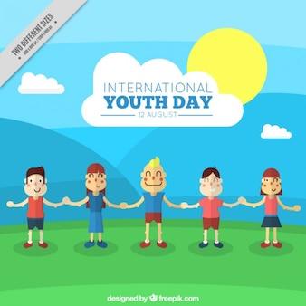 Międzynarodowy dzień młodzieży w tle szczęśliwych ludzi
