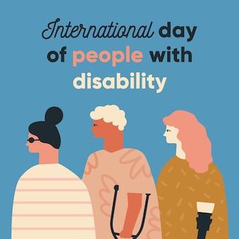 Międzynarodowy dzień osób niepełnosprawnych. projektowanie postaci. ludzie stojący razem.
