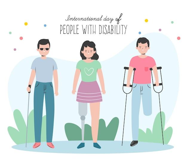 Międzynarodowy dzień osób niepełnosprawnych ręcznie rysowane tła
