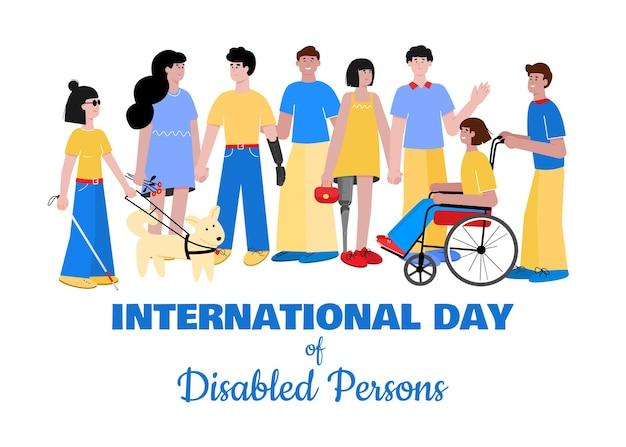 Międzynarodowy dzień osób niepełnosprawnych transparent płaski wektor ilustracja na białym tle