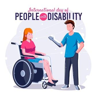 Międzynarodowy dzień osób niepełnosprawnych w tle płaska konstrukcja