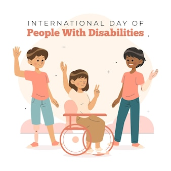 Międzynarodowy Dzień Osób Niepełnosprawnych Premium Wektorów