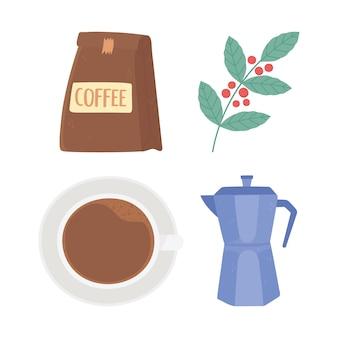 Międzynarodowy dzień pakietu kawy filiżanka czajnik i ikony gałęzi