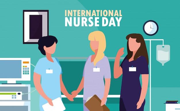 Międzynarodowy dzień pielęgniarki z profesjonalnymi kobietami na sali operacyjnej
