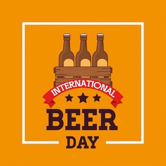 Międzynarodowy dzień piwa, sierpień, z butelkami piwa w drewnianym pudełku