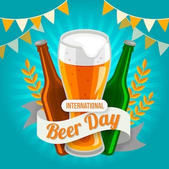 Międzynarodowy dzień piwa w płaskiej konstrukcji