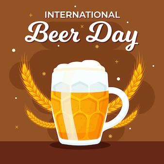 Międzynarodowy dzień piwa z kuflem piwa i pszenicy