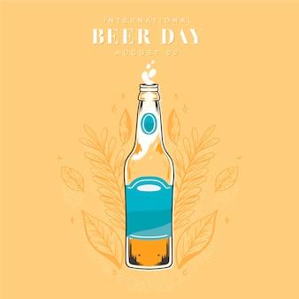 Międzynarodowy dzień piwa z piwem i butelką