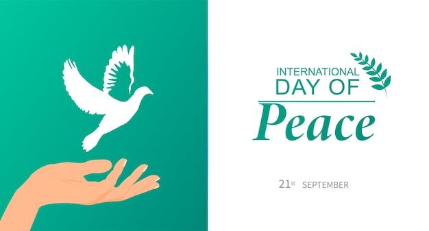 Międzynarodowy Dzień Pokoju. 21 Września. Ulotka, Baner, Pocztówka. Premium Wektorów