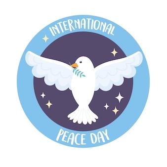 Międzynarodowy dzień pokoju biały gołąb gospodarstwa gałąź w latającej ilustracji wektorowych